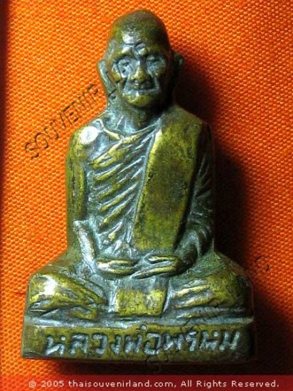 M491-VINTAGE REAL THAI BUDDHA AMULET STATUE LP PROM OLD