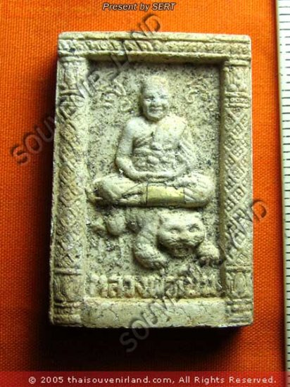 M347-VINTAGE REAL THAI BUDDHA AMULET LP PERN TIGER RICH