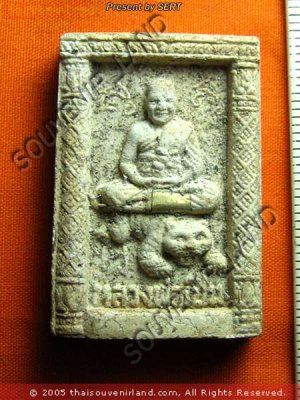 M347-VINTAGE REAL THAI BUDDHA AMULET LP PERN TIGER RICH