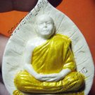 1014-VINTAGE OLD THAI BUDDHA AMULET KUBA KRITSANA LEAF