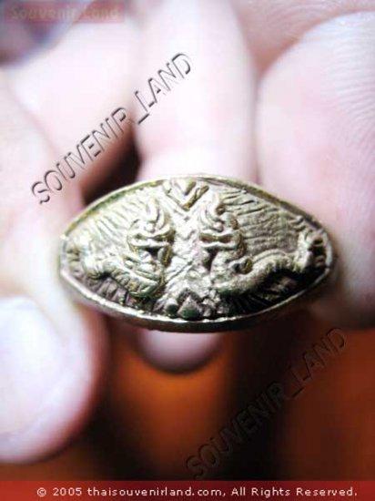 0775-RARE THAI BUDDHA AMULET RING KUBA KRITSANA NAGA 2H
