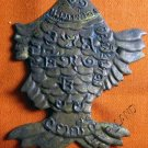 0758-VINTAGE OLD THAI BUDDHA AMULET LP JONK RICH FISH