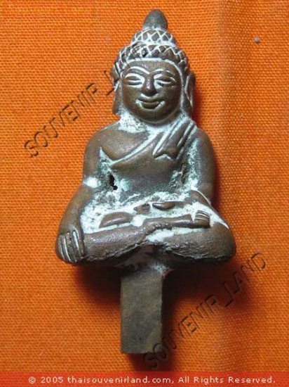 0614-OLD THAI BUDDHA AMULET FIGURE CHEANG-SAEN ART 19TH