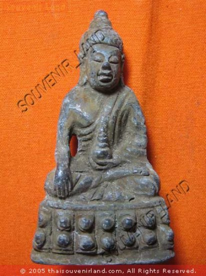 0590-OLD THAI BUDDHIST AMULET FIGURE SUKHOTHAI ART 19TH