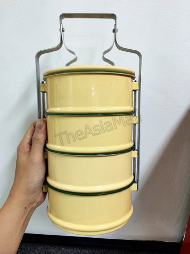 0025-ALUMINUM TIFFIN FOOD MEAL YELLOW ENAMEL PICNIC BOX CONTAINER 4 TIER PINTO