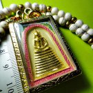6480-THAI REAL AMULET SOMDEJ 108 MONK MASS BLESSED WAT NOK 9 SEAT GOLD YELLOW