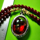 0407-REAL NATURAL GEM HOLY STONE DEEP RIVER NAGA POWER EYE THAI AMULET BLOOD RED