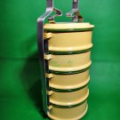 0024-VINTAGE PICNIC BOX CONTAINER TIFFIN FOOD MEAL PACKAGING ENAMEL 5 TIER PINTO