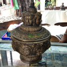 6858-REAL THAI BUDDHA AMULET MAGIC WATER BOWL 4 FACE NARAI LP KALONG LUCKY RICH