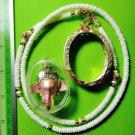6094-THAI REAL AMULET PIKANET ELEPHANT HEAD LP PERN 24K GOLD PENDANT PINK LOVE
