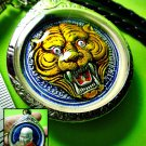 2523-ENAMEL PENDANT MEDAL THAI AMULET TIGER FACE REAL PROTECT LP PERN BLUE 1998