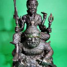 6184-THAI REAL AMULET BUCHA STATUE LERSRI 4 ARMS RIDER RAHU GREAT WEALTH LP NONG