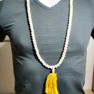 6849-REAL THAI AMULET NECKLACE SACRED BUDDHA RELIC STONE 108 BEAD PEARL COLOR