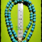 6688-HANDMADE NECKLACE BEAD HANDICRAFT W-HOOK WEARING THAI AMULET BLUE STONE