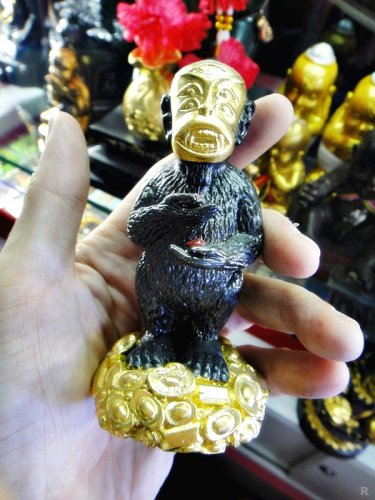 8141-HOLY GOLD FACE MONKEY SIHU-HATA KUBA SUBIN AMULET THAI GAMBLING RICH REAL