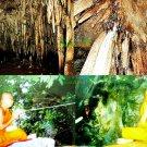 6537-NATURAL CAVE LEKLAI THAI AMULET MONK BLESS KO-TI-PEE EARTH ELEMENT BLACK