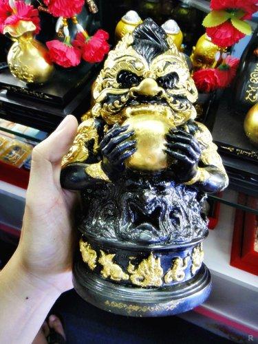 6277-THAI REAL AMULET RAHU BUCHA BLACK GOLD BRONZE STATUE LUCKY LP KLOY 19 MONK