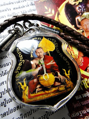 7094-THAI REAL AMULET BLESS MONK LOCKET PHOTO PENDANT SALIKA BLACK LP NEN NAEN
