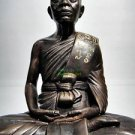 0149-REAL AMULET THAI BRONZE BIG BUCHA STATUE MEDITATION PEACE MONK LP KOON 2012