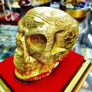 6708-SKULL STATUE AMULET LUCKY MONEY RICHLY CHARM THAI REAL LP LEK GOLD LEAF BIG