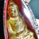 1822-THAI AMULET HAND CARVE LEKLAI NAGA EYE GEMS STONE BUDDHA YELLOW OLD MONK