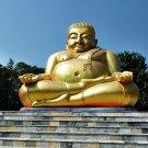 9072-REAL THAI AMULET HAPPY BUDDHA MEDITATION GOLD RICH SANKAJAI LP PERN STATUE