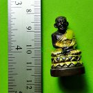 6504-THAI REAL AMULET BRONZE FIGURE LP TUAD MONKS GROUP BLESS GOLD 24K PHA-KRING