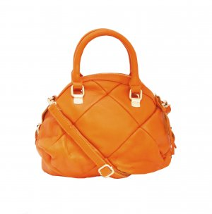 Quilted Leather Satchel Orange