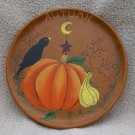 Primitive Folk Art Autumn Harvest Crow Plate OOAK