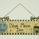 Primitive Folk Art Blue Moon Inn Sign Door Hanger OOAK