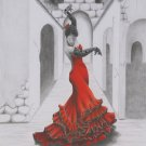 Flamenco Valentina original colored pencil drawing OOAK