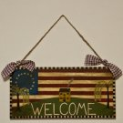 Patriotic Welcome Sign primitive folk art wood americana prim OOAK original