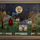 Sleepy Town primitive folk art americana country original painting ooak
