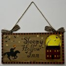 Sleepy Hollow Inn wooden sign - primitive folk art prim door hanger halloween original ooak