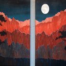 Volcanic Moon original ooak painting diptych double canvas