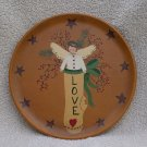 Love Angel Stocking Plate Primitive Folk-Art Country Prim Christmas OOAK original