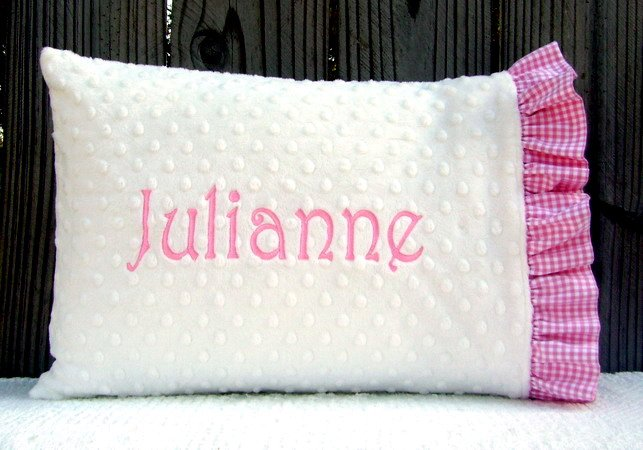 Personalized Monogrammed Minky Baby/Toddler Ruffled Gingham Pillowcase Great Baby Shower Gift