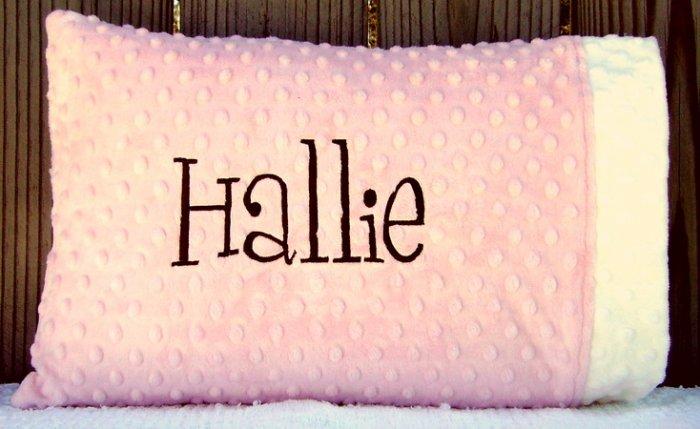 Children's Monogrammed Minky Pillowcase and Pillow