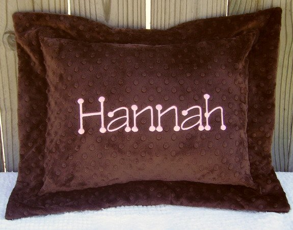 Personalized Monogrammed Minky Baby/Toddler/Travel Pillow Sham and Pillow with Flange YOU DESIGN