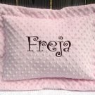 Pink and Brown Personalized Monogrammed Minky Baby/Toddler/Travel Pillow Sham and Pillow with Flange