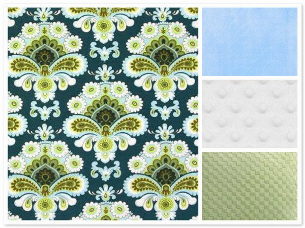 Custom Handmade Amy Butler Spruce French Wallpaper Minky Baby Blanket
