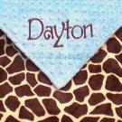 Giraffe Minky Baby Blanket Personalized