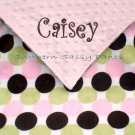 Retro Dot Minky Baby Blanket Personalized
