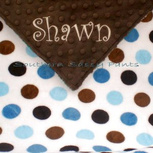 Multi-Dot Minky Baby Blanket Personalized