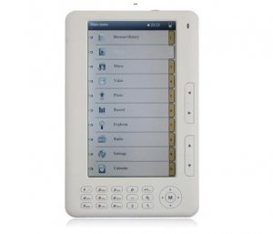 "White 4GB 7"" E-book eReader TFT Ebook Reader PDF DOC EPUB MP3 MP4 RMVB"