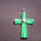Green Jade Cross Pendant - 18kt White Gold Plated