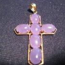 14kt Yellow Gold Lavender Jade Cross