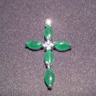 Jade Cross Pendant - Round CZ Center Stone