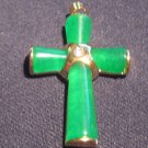 Green Jade Cross Pendant Yellow Gold Plated