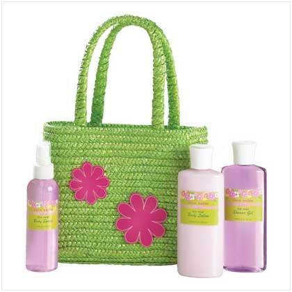 Green Tote Bag Bath Set